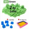 Kids Station - 2kg Motion Moving Kinetic Play Sand - Green with Inflatable Sand Tray and Sand Mold