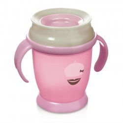 Lovi 360 cup RETRO with handles  (210 ml) MINI -pink