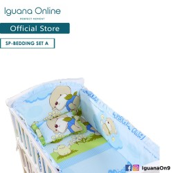 Iguana Online 100% Cotton Baby Soft Crib Bedding Set Sheet Head Neck Body Support Pillow For WCT138 (Set A)