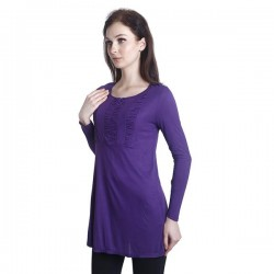 'Fabulous Mom Laila Front Zipper Nursing Blouse (Purple)'