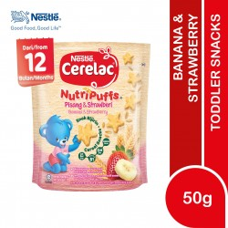 Nestle Cerelac Nutripuffs Toddler Snacks Banana & Strawberry (50g) ( Expiry Date 21/6/2021)