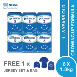 Nestle Lactogrow 3 Milk Powder (1.3kg x 6) [Free Jersey Set x 1 + Lactogrow Bag x 1]