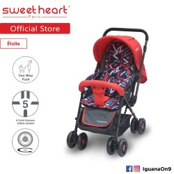 Sweet Heart Paris ST220 Etoile Stroller with 8pcs Wheels and Reversible Handlebar (Star Red)