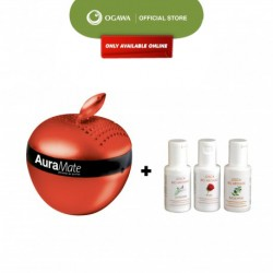 OGAWA Aura Mate Personal Air Purifier (Red) + OGAWA Aroma Oil Essence 3 In 1 Starter Pack 30ml