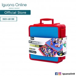 Iguana Online Portable Lego Storage Box Toys with 3 Free Lego Modules Included LG133 (Red)