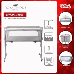 Royal Kiddy London 3 in 1 Night Angel Portable Bedside Baby Cot (Grey)