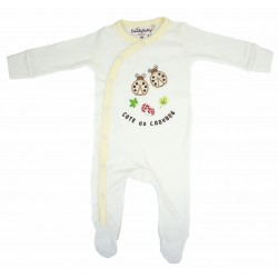 Trendyvalley Organic Cotton One Piece Suit Romper with Hands and Feet Covered (Ladybug)