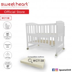 Sweet Heart Paris WCT138 Multi Functional Baby Bed Rocking Cradle Wooden Infant Toddler Baby Cot with Parent Bed Height