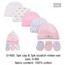 Hudson Baby 5pcs Caps and 3pairs Scratch Mitten Set - Pink Princess