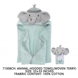Little Treasure Animal Face Hooded Towel Woven Terry - Elephant Green