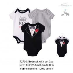 Little Treasure Hangging Short Sleeve Baby Suits Interlock - Tuxedo Rose (3pcs)