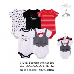 Little Treasure Hangging Short Sleeve Baby Suits Interlock - Gentleman (5pcs)