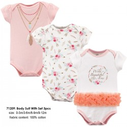 Little Treasure Hangging Short Sleeve Baby Suits Interlock - Boho (3pcs)