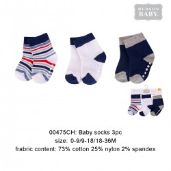 Hudson Baby Baby Socks with Non Skid - Blue Stripe (3pairs)