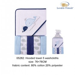 Luvable Friends Hooded Towel and 5pcs Washcloths - Whale
