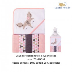 Luvable Friends Hooded Towel and 5pcs Washcloths - Deer