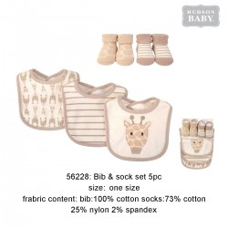 Hudson Baby Droller Bib and Socks Set - Giraffe (5pcs)