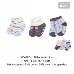 Hudson Baby Baby Socks with Non Skid - Blue (3pairs)