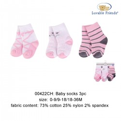 Luvable Friends Baby Socks with Non Skid - Pink Cat (3pairs)