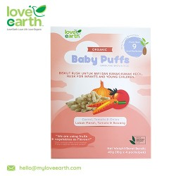 Love Earth Organic Baby Puffs Carrot, Tomato and Onions 40G (10G X 4 Serving)