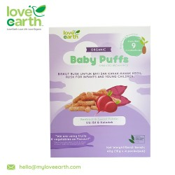 Love Earth Organic Baby Puffs Beetroot  and amp- Sweet Potato 40G (10G X 4 Serving)