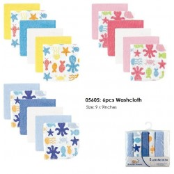 Luvable Friends Super Soft Washcloths - Ocean (6pcs)