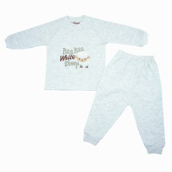 Trendyvalley Organic Cotton Baby Long Sleeve Pyjamas Set (Baa Sheep Grey)