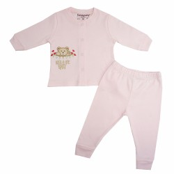 TRENDYVALLEY ORGANIC COTTON LONG SLEEVE BABY SHIRT AND PANTS (ROCK A BYE PINK)