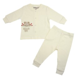 TRENDYVALLEY ORGANIC COTTON LONG SLEEVE BABY SHIRT AND PANTS (ROCK A BYE CREAM)