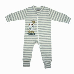 TRENDYVALLEY ORGANIC COTTON BABY ZIP ONE PIECE SLEEP BAG WITH HANDS AND FEET COVERED (GREY STRIPE BEAR)