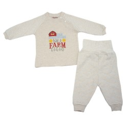 Trendyvalley Organic Cotton Baby Long Sleeve Pyjamas Set (Old Mac Donald/Brown)