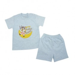 Trendyvalley Organic Cotton Short Sleeve Baby Shirt And Pants (Hey Diddle Blue)