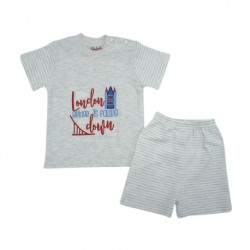 Trendyvalley Organic Cotton Short Sleeve Baby Shirt and Pants (London Bridge Grey)