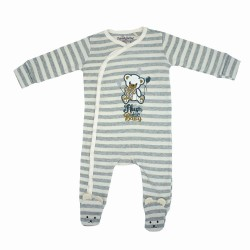 Trendyvalley Organic Cotton One Piece Suit Romper with Hands And Feet Covered (Grey Stripe Bear)