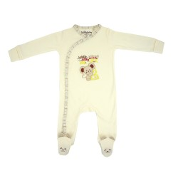 Trendyvalley Organic Cotton One Piece Suit Romper with Hands And Feet Covered (Mouse)