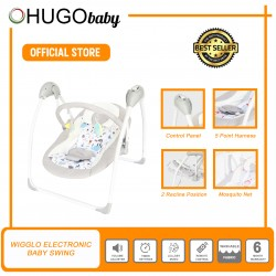 Hugo Baby Wigglo Portable Folding Electronic Baby Swing with Remote Control, FREE Mosquito Net (Blue)
