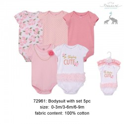 Little Treasure Hanging Short Sleeve Interlock Baby Suits (5pcs) - 72961