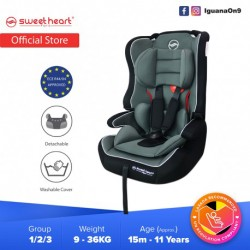 Sweet Heart Paris Safety Car Seat Booster (Black Grey) with Side Protection