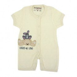 Trendyvalley Organic Cotton Short Sleeve Short Pants Baby Romper (Lots Of Love/Cream)