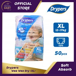 Drypers Wee Wee Dry Disposable Diapers (XL) 12-17kg (50pcs)