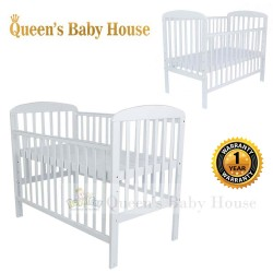 Royalcot R8309 Multi Function Wooden Baby Cot (White) Large Baby cot with Height Adjustable Layer size 70x130cm