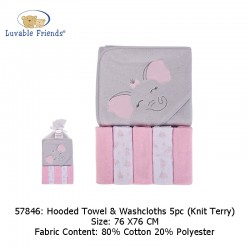 Luvable Friends Hooded Towel and 5pcs Washcloths - Pink Elephant (57846)