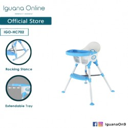 Iguana Online Multifunctional Adjustable Portable Convenient Feeding Dining Space Friendly High Chair with Tray (Blue)