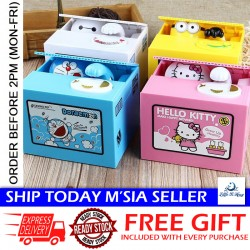 Little B House Automatic Money Box Doraemon Kitty Steal Saving Coins Bank Creative Piggy Box - BT249