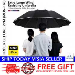 Little B House Extra Large 125CM Diameter Good Quality Wind Resisting Umbrella With Reflective Strip - UM02