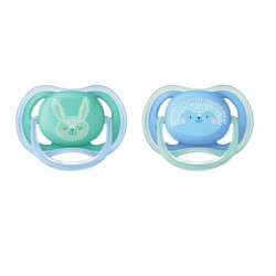 Philips Avent Berry Soother 6-18M - Boy (Twin Pack) Bunny/Porcupine