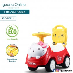 Iguana Online Cute Kitty Cat with Smart Educational Steering Wheels Ride On Car Tolo Car (Red)