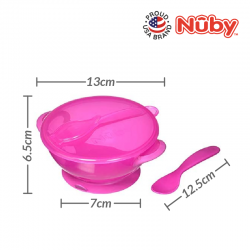 """Nuby """"Garden Fresh"""" Suction Bowl w/Spoon and Lid - Lid has Carved Out Place that Spoon Fits Inside -Pink"""