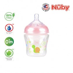 Nuby Natural Touch  Printed Bottle With Silicone Nipple - New Prints 270ML/9OZ (Single Pack) - Pink Snail