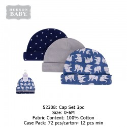Hudson Baby 3pcs New Born Baby Caps - Blue Elephant (52308)